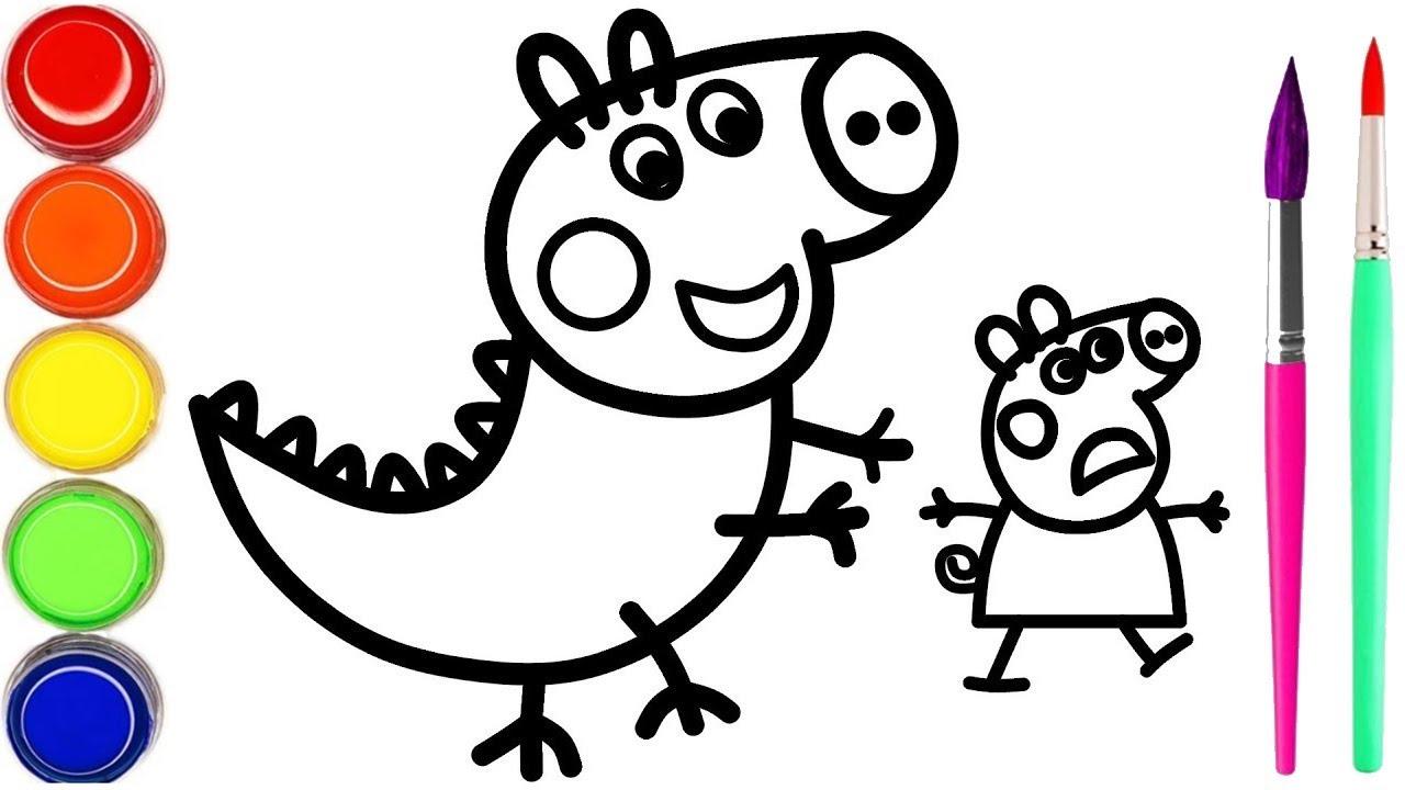 Mewarnai Babi Pig Peppa George Dikejar Oleh Ibu