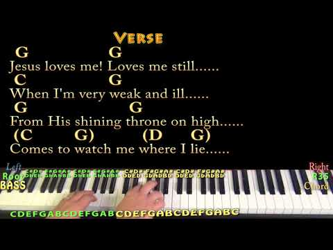 Jesus Loves Me (Hymn) Piano Cover Lesson in G with Chords/Lyrics
