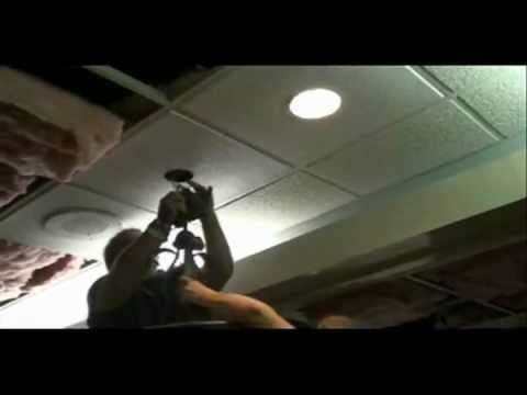 How to install a hanging light into a ceiling tile youtube greentooth Images