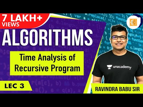 Algorithms lecture 3 -- Time analysis of recursive program
