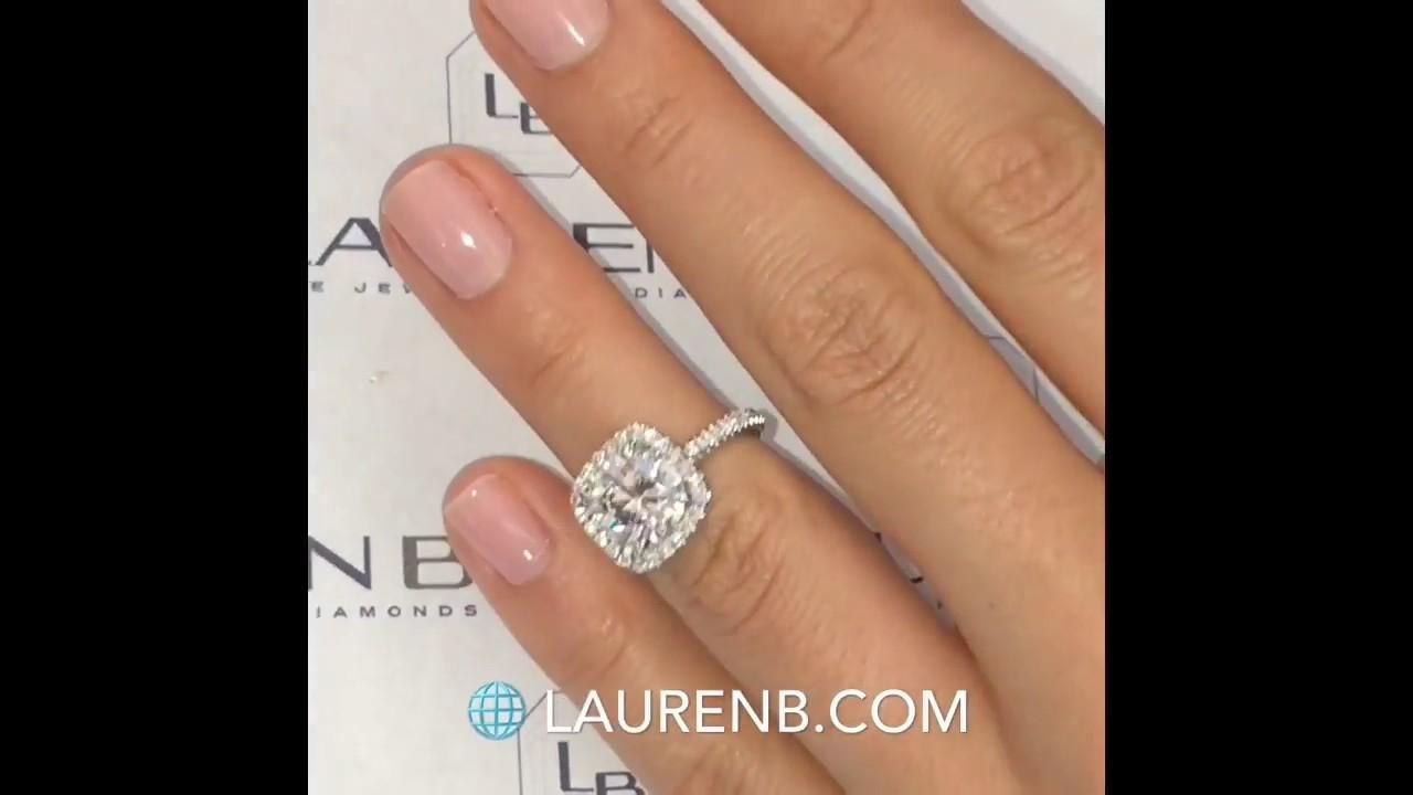 70b42d62da6 2.57 ct Cushion Cut Diamond Halo Engagement Ring