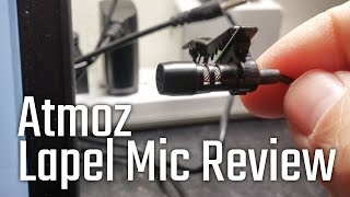 Atmoz Audio Lavalier Lapel Clip-On Noise Cancelling Mic Review and Demonstration