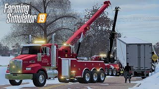 BIG RIG RESCUE SAVES TIPPED SEMI TRUCK - COUNTY LINE SEASONS FS19 (ROLEPLAY)