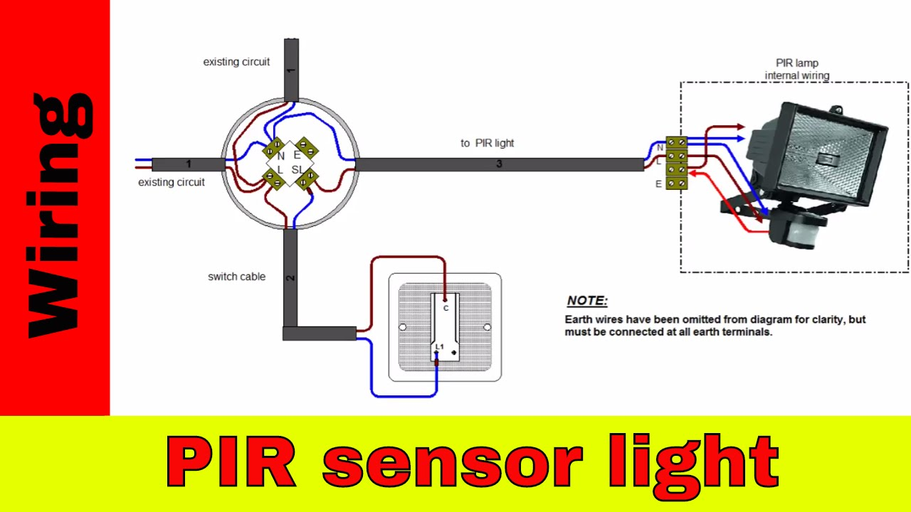 How to wire PIR sensor light.  sc 1 st  YouTube : wiring outside lights diagram - yogabreezes.com