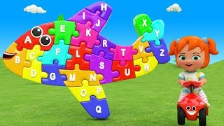 Airplane Wooden Color Puzzle Toy Little Baby Girl Learning Alphabets for Children Kids ABC Song