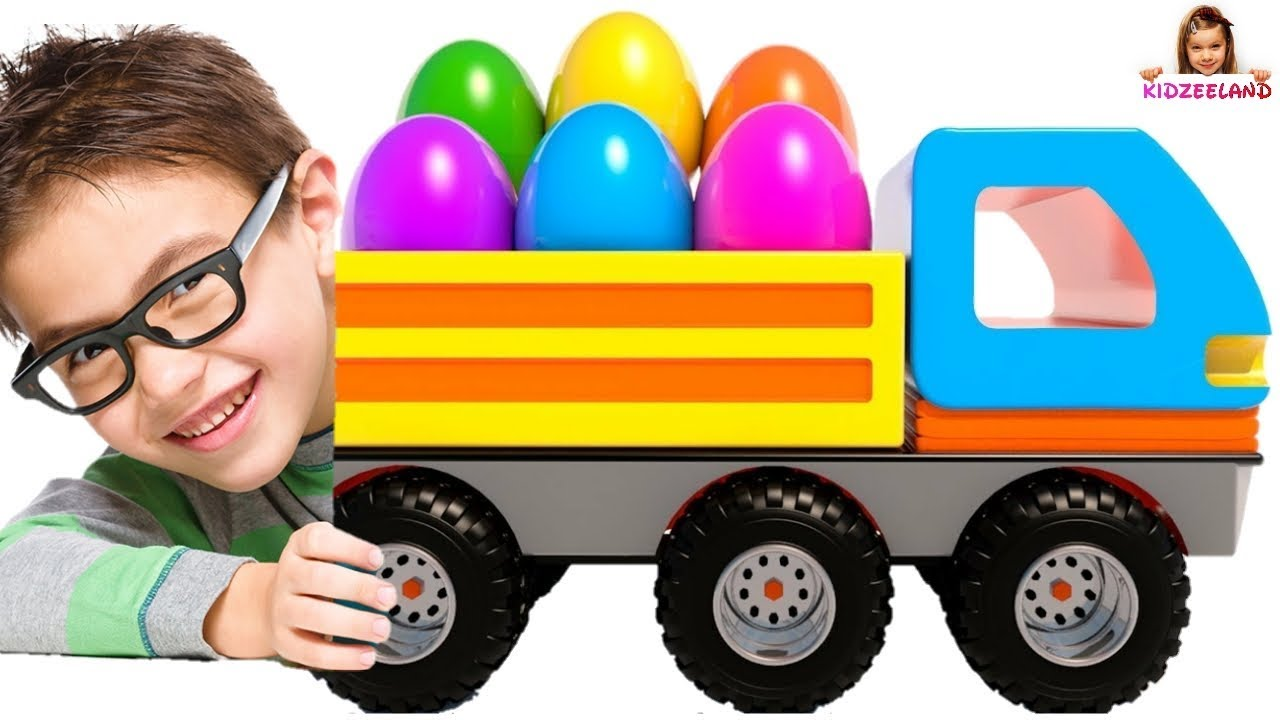 Learn Colors Shapes With Dump Trucks Surprise Eggs Toy