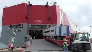 英国高速鉄道車両【Class800】K-LINE【SIRIUS HIGHWAY】へ最後の積込 下松市 徳山下松港