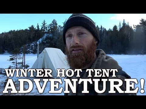 WINTER CAMPING in CANVAS TENT with WOOD STOVE | I FELL THROUGH THE ICE! | PART 2