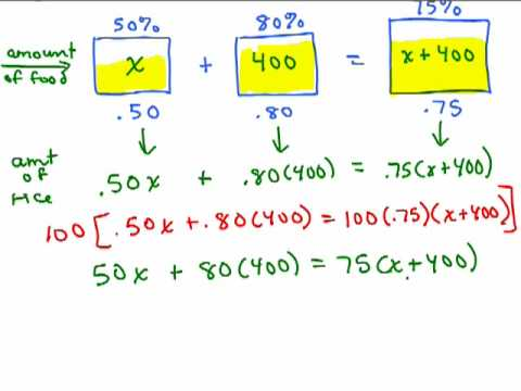 Percent Mixture Problem 1 Youtube