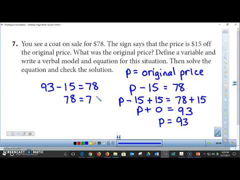 13-3 Modeling and Solving Subtraction Equations HW Review