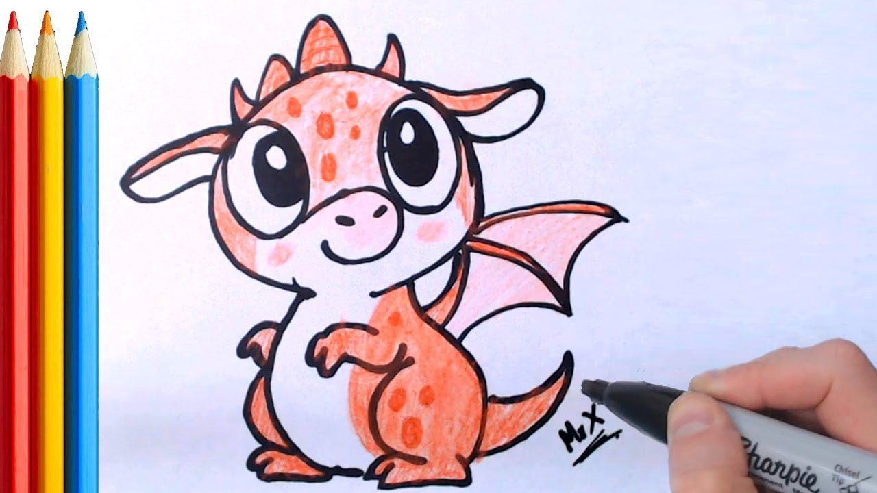 How To Draw Cute Baby Dragon Step By Step Tutorial Youtube