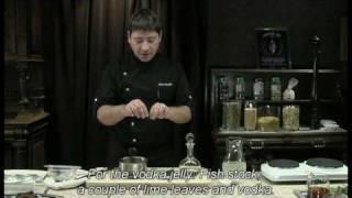 Блюдо из подкопченной осетрины с желе из водки A.quetglas