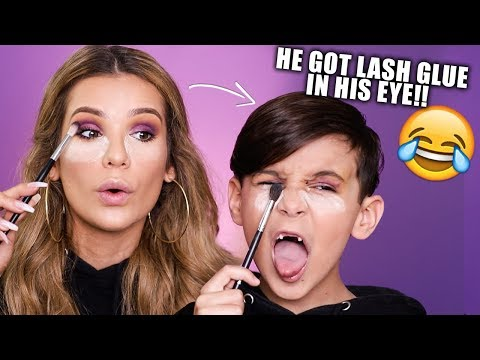 LITTLE BROTHER COPIES MY MAKEUP ROUTINE + Tests my PALETTE!
