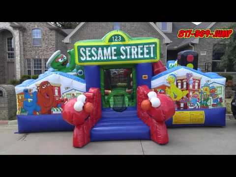 Thumbnail: SESAME STREET OBSTACLE BBB JUMP HOUSE bounce house in Arlington tx 76016
