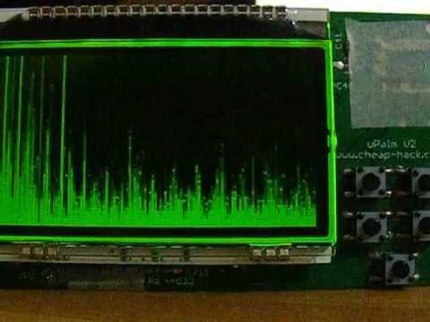 uPalm V2 open source microcomputer first test audio spectrum fft pic
