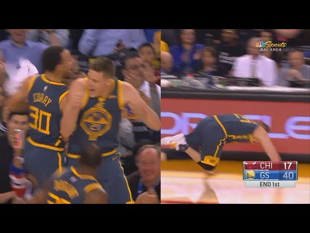 Stephen Curry Goes CRAZY After Jonas Jerebko's Half Court Shot Knocking Him Down! Warriors vs Bulls