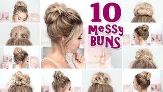 10 MESSY BUNS pour la RENTREE ❤ Tuto coiffure: chignon rapide, facile
