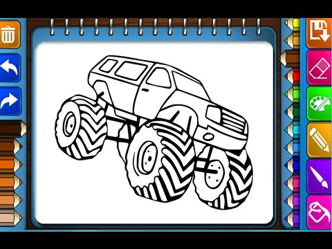 Monster Trucks Coloring Pages For Kids - Monster Trucks Coloring ...