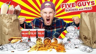 THE $125 FIVE GUYS MENU CHALLENGE! (11,000+ CALORIES)