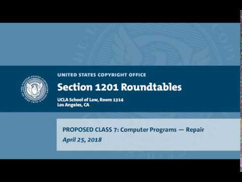 Seventh Triennial Section 1201 Rulemaking Hearings: Los Angeles, CA (April 25, 2018) - Prop. Class 7