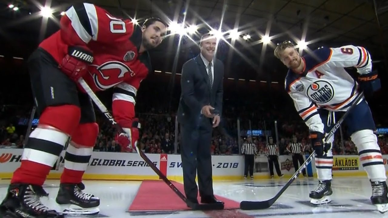 Devils Great Martin Brodeur Drops Puck In Sweden Youtube