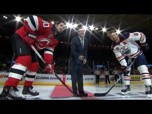Devils great Martin Brodeur drops puck in Sweden