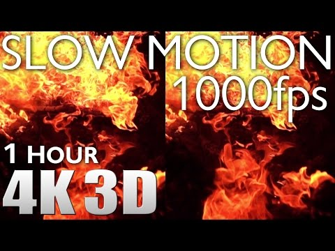 VR 3D - Slow Motion 1000fps #4 Fire - 1 HOUR RELAXATION Nature Sounds 4K