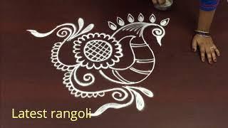 latest peacock rangoli design without dots ||freehand creative peacock rangoli || peacock kolam