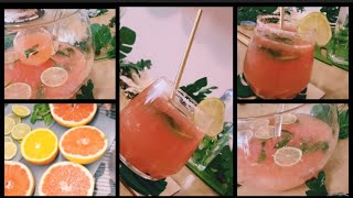 #Grapefruit limeade. Punch recipe of fresh pulpy Orange &amp grapefruit with lime for #birthday brunch.