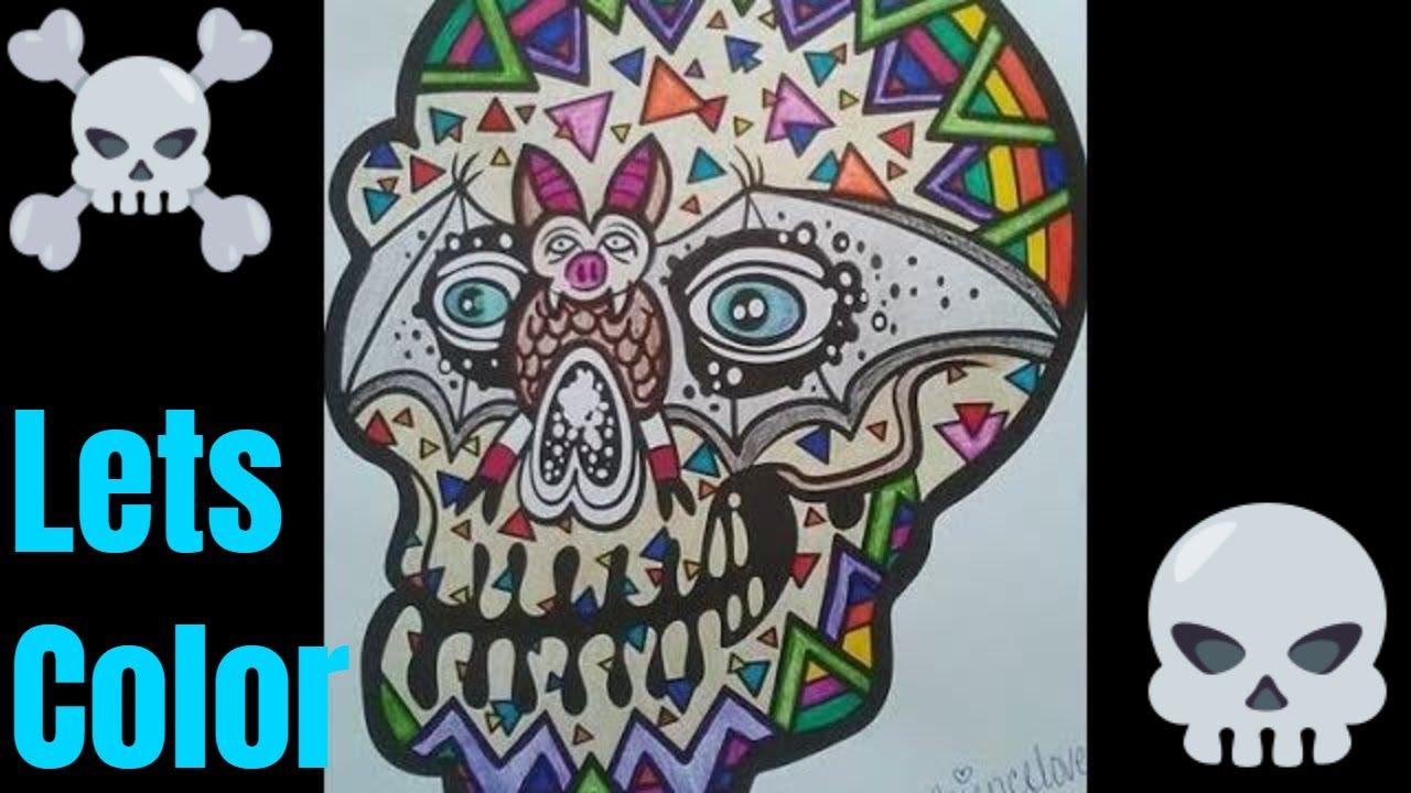 Sugar Skull Coloring Page for Dia De Los Muertos - 100 Directions | 720x1280