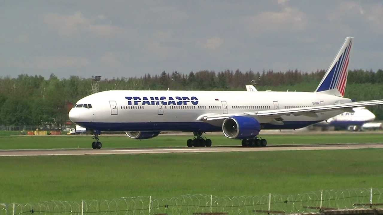 Domodedovo Boeing 777 300 Trent 800 Transaero Take Off