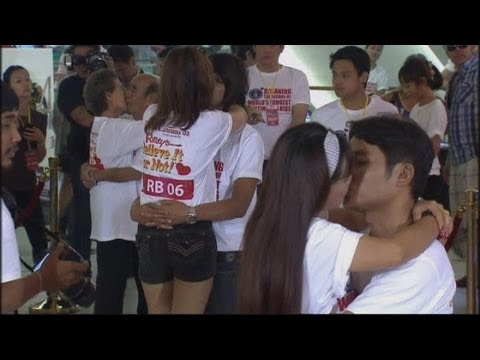 Couples in Thailand try to break record for the world's longest kiss