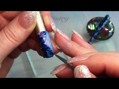 Navy Floral Gel Nail Design