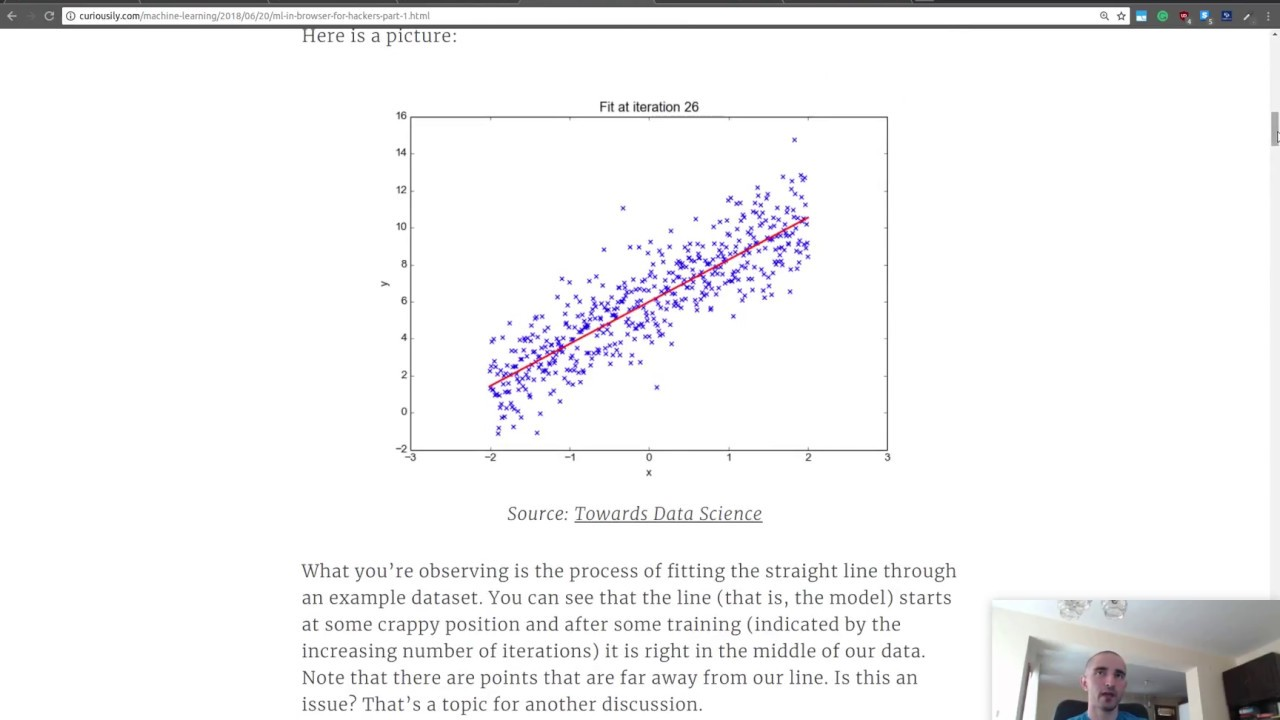 Simple Linear Regression using TensorFlow.JS (with JavaScript)  in the Browser