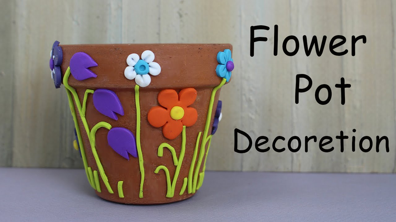 How to decorate a flower pot home decor youtube for Art and craft pot decoration