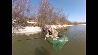 Ловля щуки весной, Рыбалка на щуку Сосьва 04.04.2015 видео отчет.