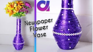 How to make newspaper flower vase   newspaper craft   Best out of waste   DIY   Artkala189