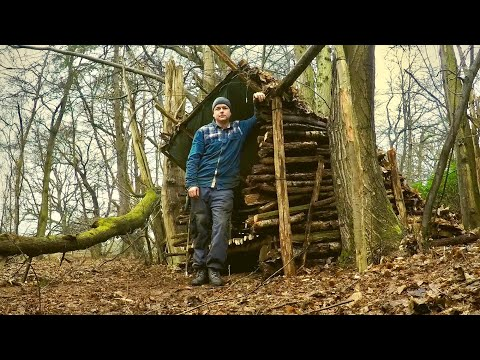Building a Bushcraft Lean-to Shelter with a Raised Bed from Start to Finish using Hand Tools