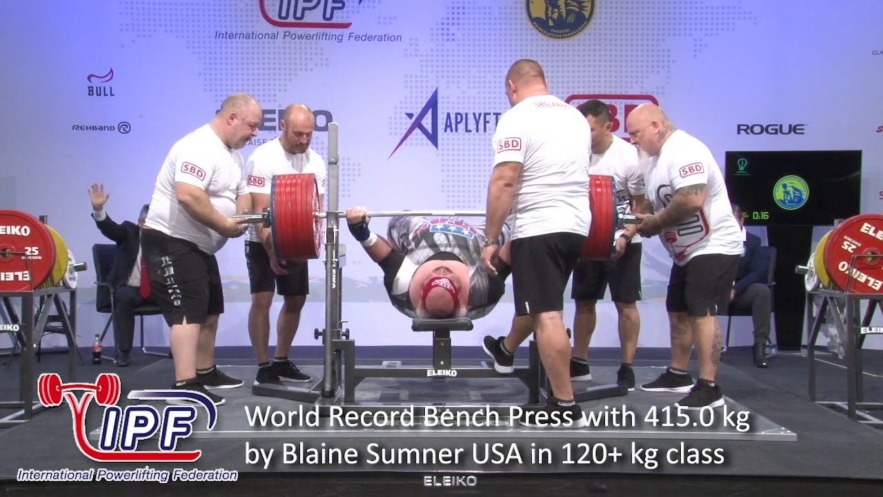World Record Bench Press With 415 0 Kg By Blaine Sumner Usa In 120 Kg Class Youtube