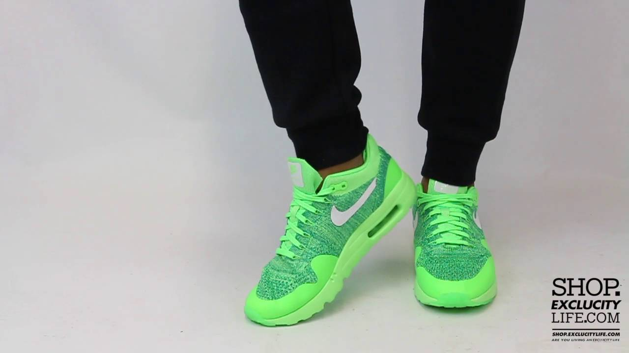 4c15a5e6b433b Nike Air Max 1 Flyknit Ultra Green On feet Video at Exclucity - YouTube