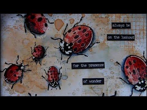 Mixed Media Art Postcard - Ladybirds
