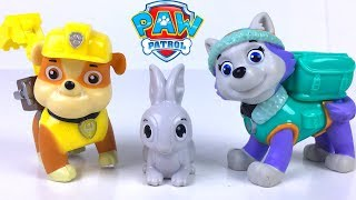 PAW PATROL SKYE AND BUNNIES RESCUE SET & ACTION PACK PUP SET WITH ROBODOG EVEREST RUBBLE - UNBOXING
