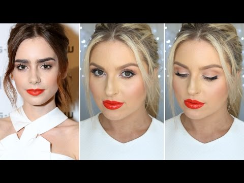 Lily Collins Inspired Makeup ♡ Bright Eyes & Glossy Orange Lips! - YouTube