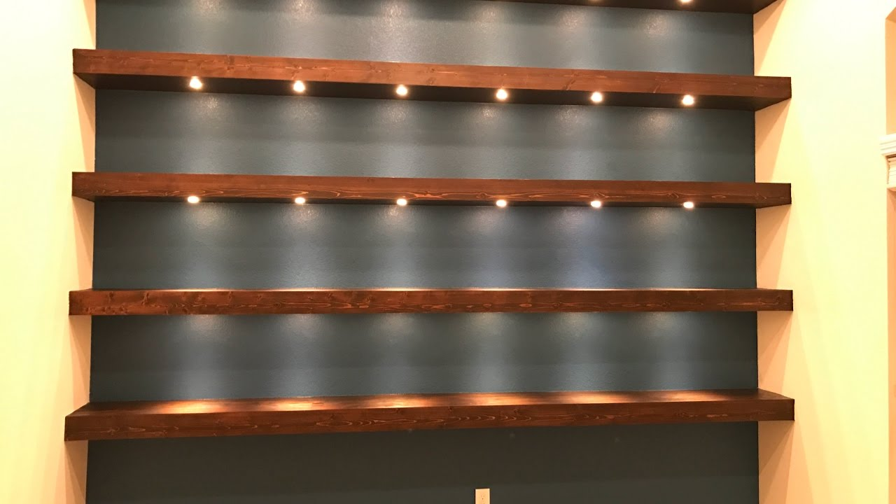 Build wall-to-wall shelves with recessed lights - YouTube