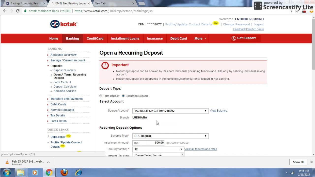how to break fixed deposit in kotak mahindra bank online