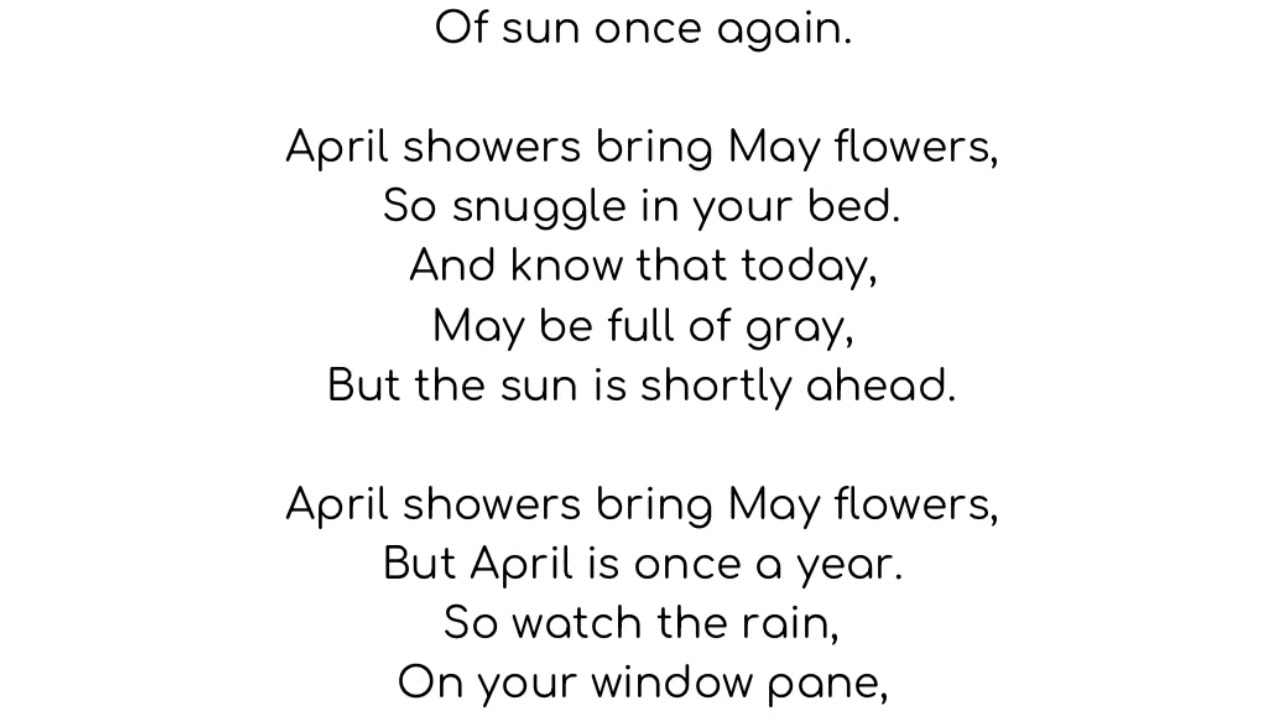 April Showers bring May Flowers Poem - YouTube