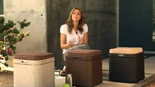 Vallejo All Weather Wicker Storage Ottoman - Product Review Video