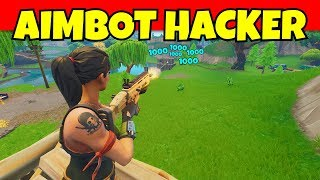 aimbot hacker kills us on fortnite and watch him do this... (funny fortnite hacker)