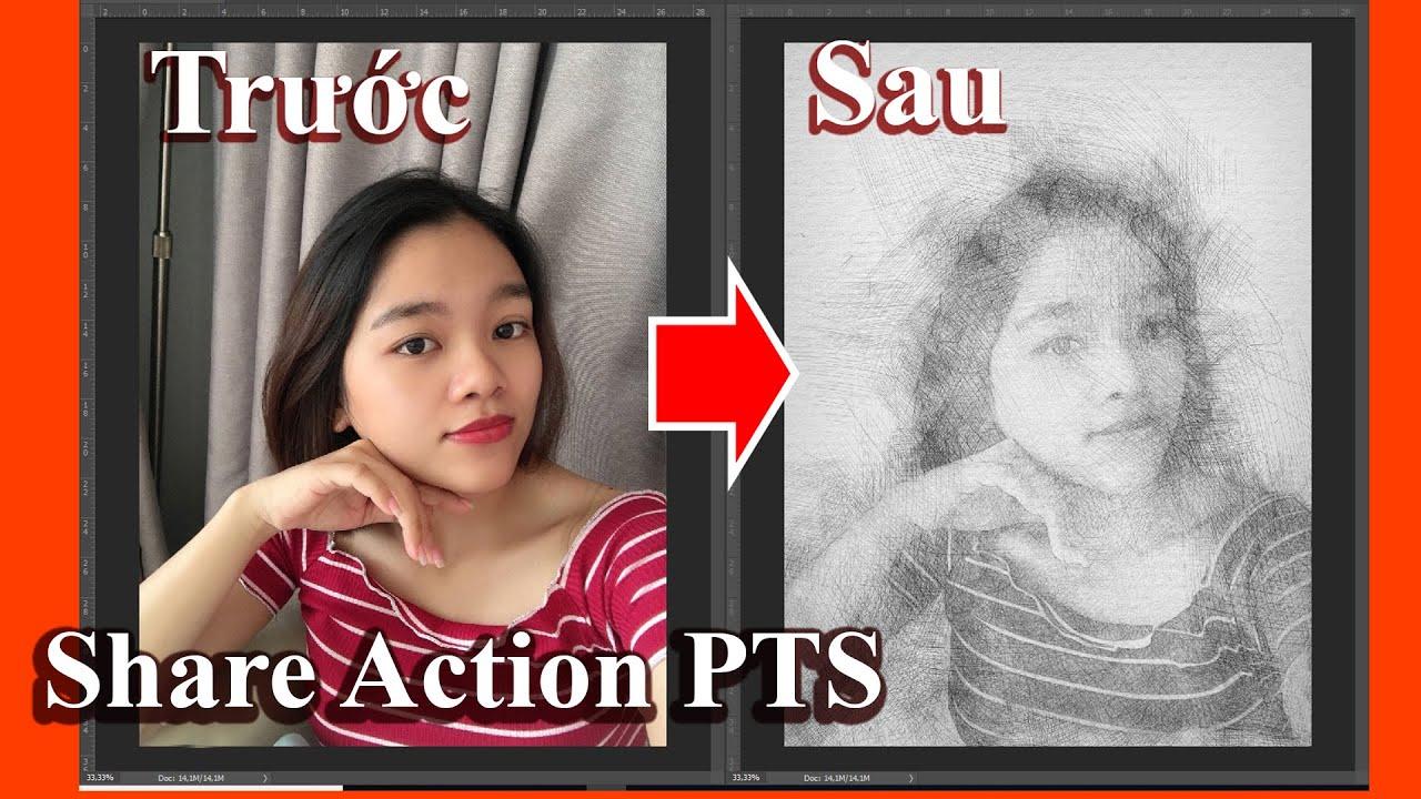 Photoshop Action | Chuyển ảnh thành tranh vẽ chì và bút bi bằng PTS nhìn như thật | Tut Channel