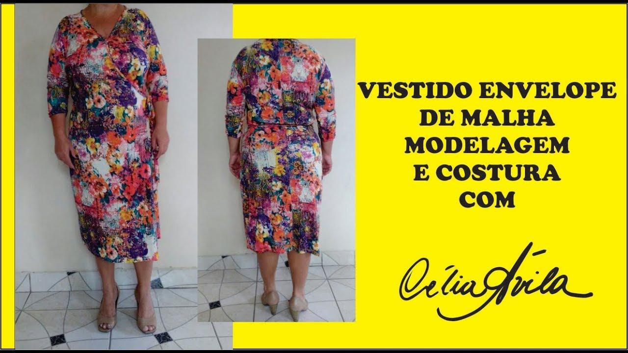 c49b7883c0 VESTIDO ENVELOPE COM MANGA 3 4 DE MALHA COM CÉLIA ÁVILA - YouTube